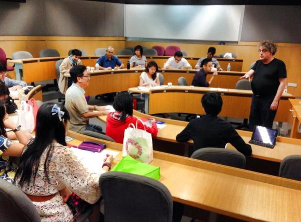 """Front row seats at Paul Muldoon's poetry workshop, """"The Art of Not Knowing"""". Singapore Management University, November 2014."""