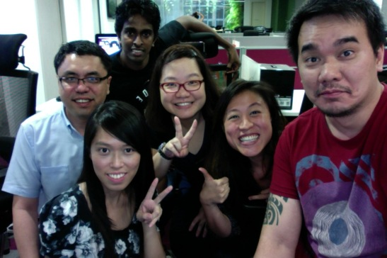 With colleagues after our team-building day out. AsiaRooms office, 2014.