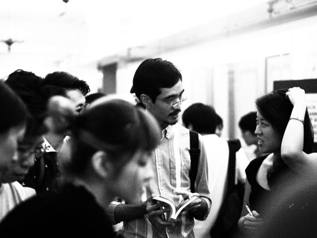 At the Singpowrimo 2014 Anthology Launch with fellow poet David Wong. Photo by Pereira Irving Paul. The Arts House, 2014.