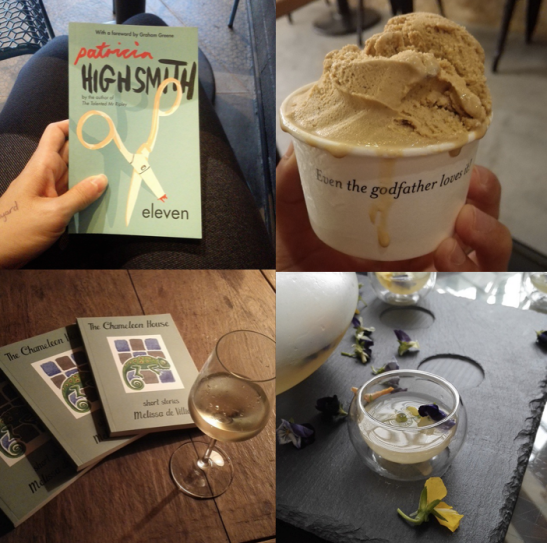 Clockwise: Patricia Highsmith's collection of short stories photographed at Jewel Cafe; Alfero Gelato's coffee-flavoured ice cream; Monkey Shoulder cocktail tea at Marina Bay Sands; at the book launch of Melissa de Villiers' The Chameleon House