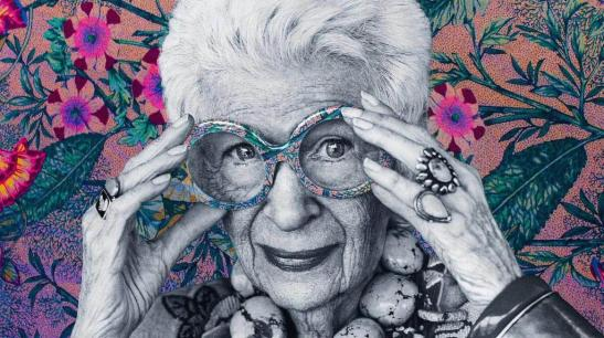Iris Apfel, a businesswoman, interior designer and fashion icon  as portrayed in Albert Maysles' documentary Iris (2014)