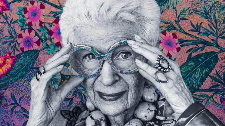Iris Apfel, a businesswoman, interior designer and fashion icon  as portrayed in Albert Maysles' documentary Iris (2014)